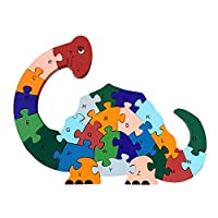 CLARA 26Pcs Colorful Wooden Alphabet Letters Numbers Jigsaw Puzzles Cartoon Blocks Toddlers Kids Preschool Children Early Education Toys