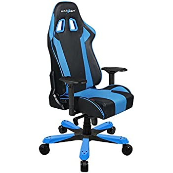 DXRacer King Series Big and Tall Chair DOH/KS06/NB Racing Bucket Seat Office Chair Gaming Chair Ergonomic Computer Chair Esports Desk Chair Executive Chair Furniture With Pillows (Black/Blue)