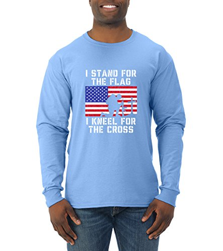 I Stand for The Flag I Kneel for The Cross   Mens Americana/American Pride Long Sleeve Tee Graphic T-Shirt, Light Blue, ()