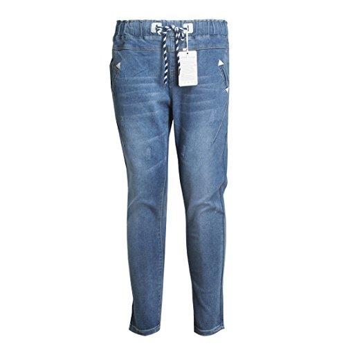 Sidiou Group Nuevo Jeans casual de atadura en otoño Jeans con gran tamaño Jeans suelto elástico con alta cintura por mujeres gordas Azul claro