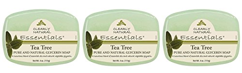 Clearly Natural Glycerin Bar Soap Tea Tree (Pack of 3) With Saponified Coconut, Palm Kernel Oil, Corn Surfanctant, Sugar Surfactant, and Tea Tree Oil, 4 oz. Each
