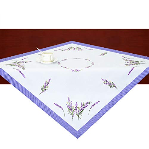 (Simhomsen Floral Tablecloth, Small Square Table Toppers, Embroidered Purple Lavender Lilac Flowers on Cream-white Background, Tablecovers for End Table, Tea Table, Coffee Table and Nigh (33 × 33 Inch))