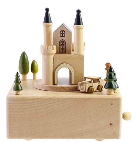 "Delightful Quality Wooden Musical Box Featuring European Castle with Small, Moving Magnetic Car | Plays ""Castle In The Sky"" Song"