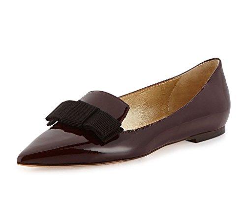Aibarbie Womens Galala Pelle Verniciata Punta-punta Appartamenti Ufficio Off-duty Scarpe Scarpe Grosgrain Arco Scarpe Cioccolato