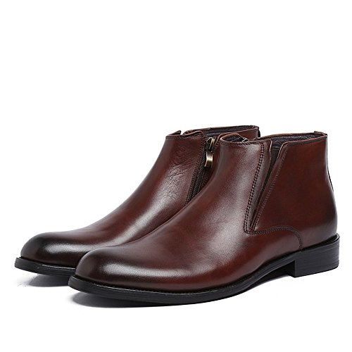 Boot Side Brown Genuine Classic Leather with Men's Zip Boots Plain Ankle Boots Santimon Dress toe Pq6zRw5