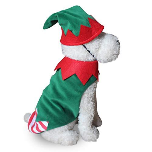 Balacoo Disfraz de Perro de Navidad Traje de Sombrero de Duende de Navidad Ropa de Mascotas pequeñas Vestido de Fiesta de Navidad para Cachorro Gatito ...