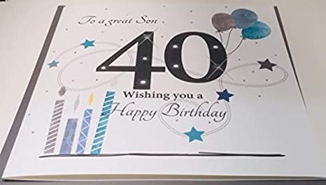 Large 40th Birthday Card For Husband 8.25 x 8.25 Inches