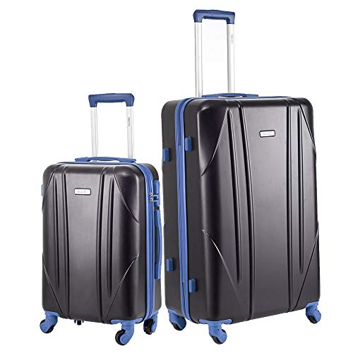 Newtour Luggage Sets 2 Pieces Suitcase with Spinner Wheels Hardshell Lightweight luggage Travel 20in 28in (Black & Blue)