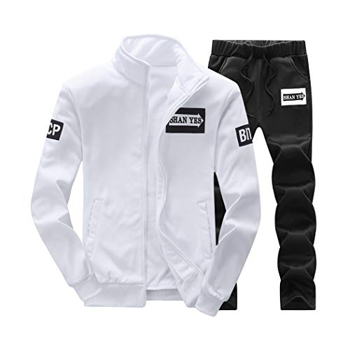 Men's 2 Piece Outfits Solid Color Stand Collar Long Sleeve Jacket Coat & Pant Tracksuit Set White