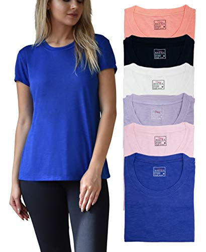 Women's Everyday Flowy Slub Burnout Active Casual Workout Crew T Shirt Tops - 6 Pack (6 Pack-Peachbud/Orchid/Astral/Violet/White/Cherryblossom, ()