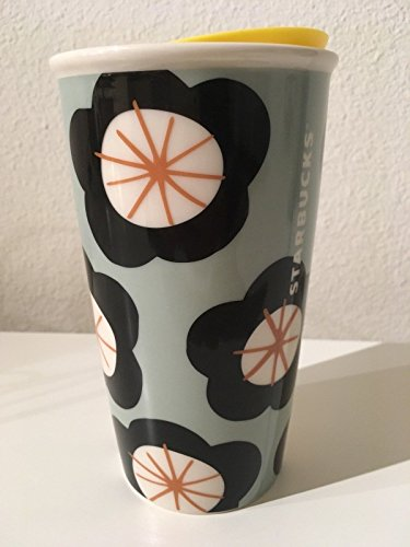 Starbucks Double Wall Ceramic Traveler for Coffee or Tea - 12 Ounces Giant Flower Pop Floral (Coffee Floral)