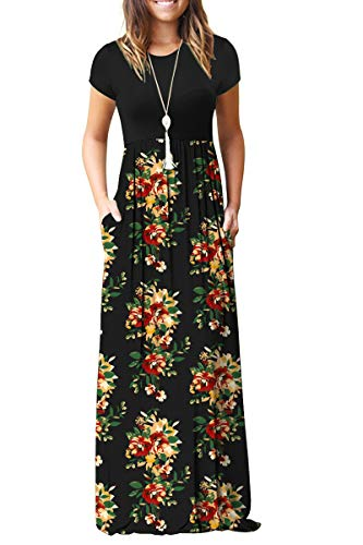 - TODOLOR Women's Short Sleeve Casual Loose Long Maxi Dresses with Pockets (XL, Green Leave Red)