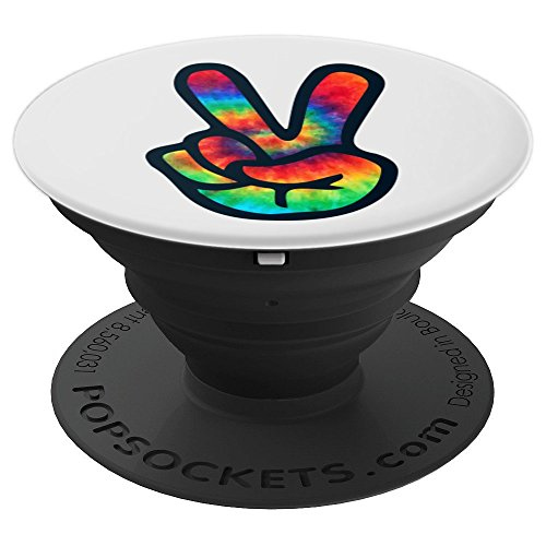 PEACE SIGN Hand Tie Dye Design | Hippies Christmas V Arts - PopSockets Grip and Stand for Phones and Tablets
