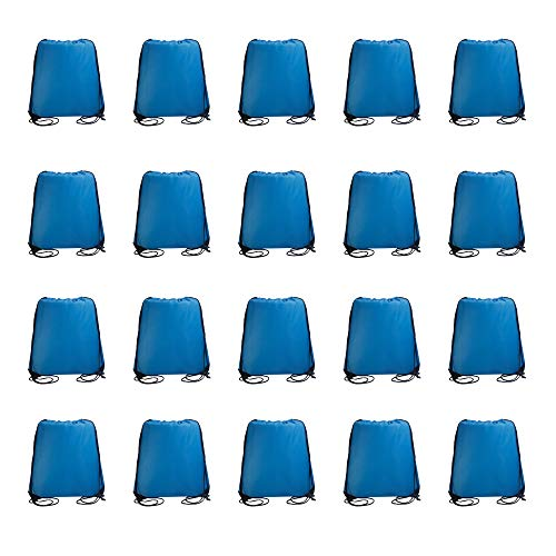 IMI bag 20PCS Folding Ripstop Fabric Drawstring Backpacks for Gym Traveling Partys Promotional.NO Logo School Kids Bags (Sky Blue)