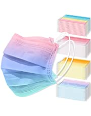 NiHealth 60-Pack Adult Disposable Protective Face Masks 3-Layer Individually Wrapped Stylish Design Comfortable Coverings Breathable Non-Woven Fabric - 4 Macaron Gradient Color Designs