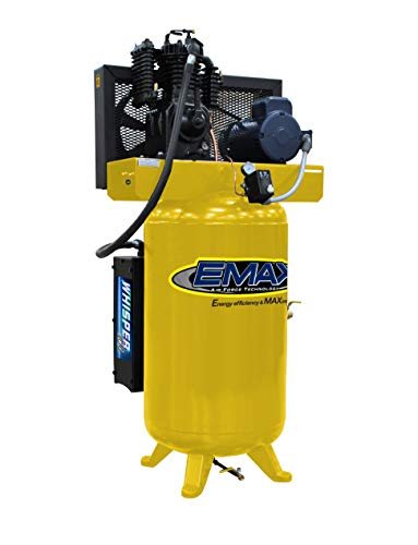 5 HP Quiet Air Compressor, 1PH, 2-Stage, 80-Gallon, Vertical, EMAX Yellow, Industrial Series, Model ES05V080I1 by EMAX Compressor