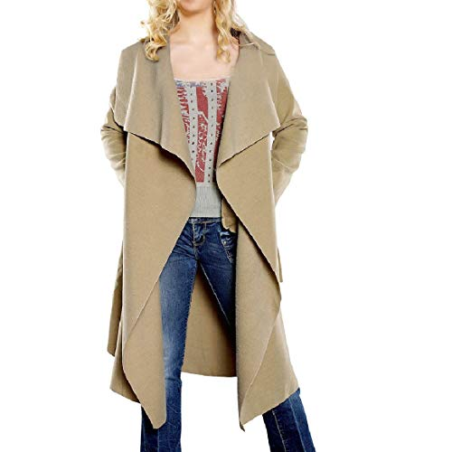 New Romantc Women's Vogue Shawl Collar Loose Solid Colored Wool Trench Coat Camel XS Camel Wool Blazer 11