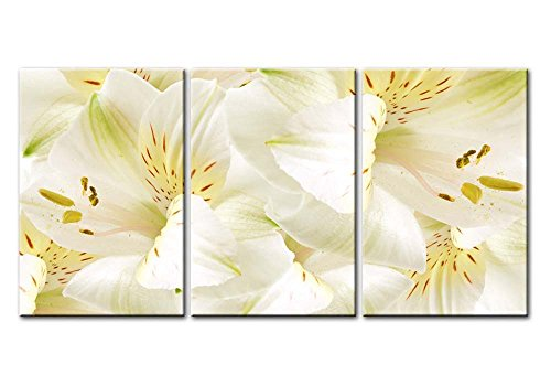 Easter Lily Grow (Canvas Print Wall Art Painting Still Life Of Bright White Easter Lily Flowers In Full Bloom Stretched And Framed Artwork Print On Canvas)