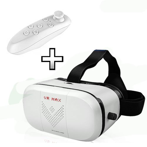 Virtual Reality Goggles 3D VR MAX Virtual Reality Glasses and 3D Video Game Movie Apple iPhone Controller 3D glasses Mobile Phone Bluetooth Remote Control