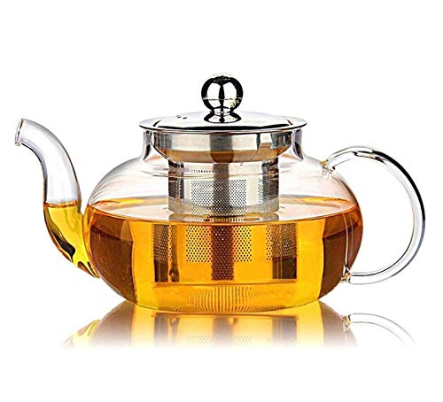 - EatingBiting(R)Glass Teapot with Stainless Steel Infuser & Lid, Borosilicate Glass Tea Pots Stovetop Safe, Blooming & Loose Leaf Teapots, 27 Ounce / 800 ml For Home Office Coffee Bar