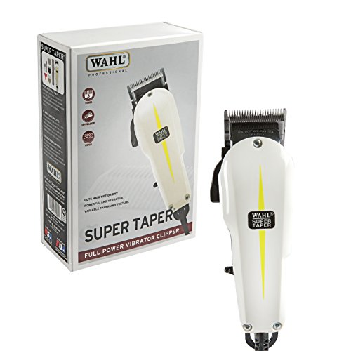 Wahl Professional Super Taper Hair Clipper #8400 - Full Power Vibrator Clipper - V5000 Electromagnetic Motor - Includes 3 Attachment Combs