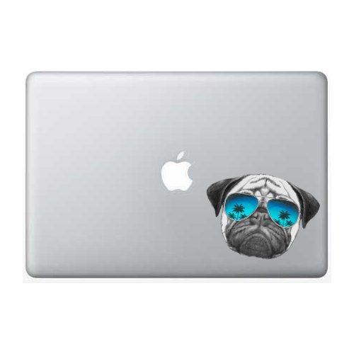 Pug Sunglasses Palm Tree - 5 Inch - Apple Macbook Laptop - Sunglass Decals
