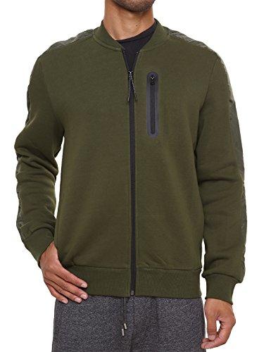 FORBIDEFENSE Fleece Sweatshirt Jacket Dotswarm Sweater-Comfort Front Zip Jacket Cozy Sport Outwear Casual,Army Green,Large