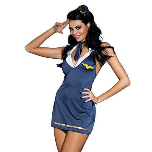 (Edenight Sailor Costume Uniform Air Force Lingerie Cosplay Outfit with Hat Navy Blue)