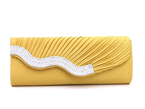 Flap Drill Classic - DG Collection Women's Pleated Satin Wavy Crystal Party Prom Clutch Evening Bag (Yellow)