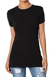 Themogan Women S Basic Crew Neck Short Sleeve T Shirts Cotton Tee Black L