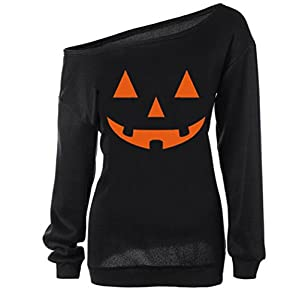 RJXDLT Women's Halloween Shirt Slouchy Sweatshirt Off Shoulder Pumpkin Pullover Top