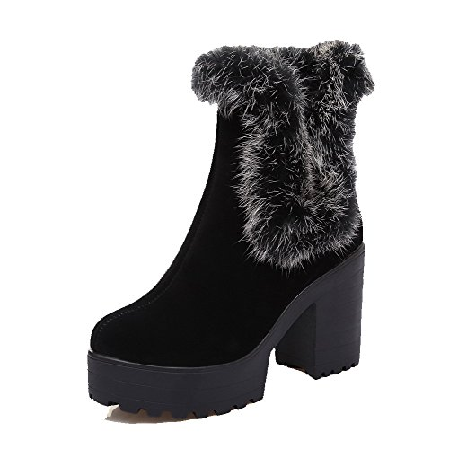 (VogueZone009 Women's Round Closed Toe Pull On Imitated Suede Solid High Heels Boots, Black,)