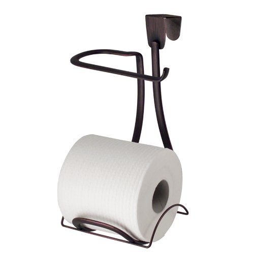 InterDesign Axis Metal Toilet Paper Holder, Over the Tank Tissue Organizer for Bathroom Storage, 6