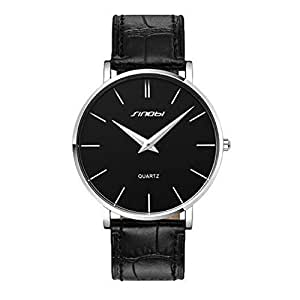 Brief SINOBI Man's Wrist Watch Ultra-thin Case Leather Band Black and Silver
