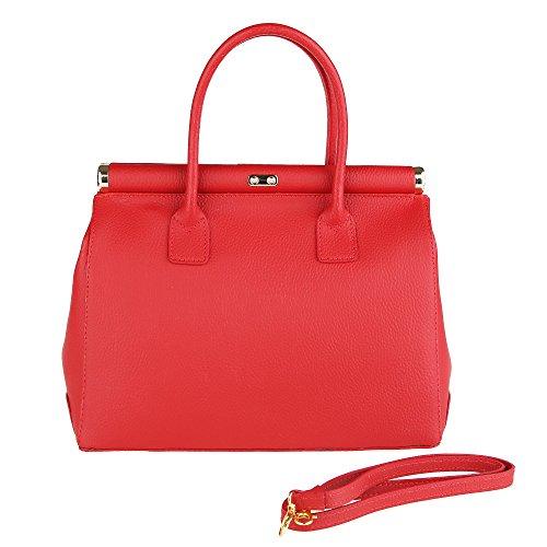 in da Chicca Borse Mano Made Cm in Pelle Tracolla 35x28x16 Rosso con Borsa Vera Italy Handbag Donna a dXOwnSqXBr