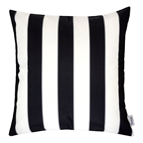 Black Pillow - Homey Cozy Outdoor Throw Pillow Cover, Classic Stripe Black Large Pillow Cushion Water/UV Fade/Stain-Resistance For Patio Lawn Couch Sofa Lounge 20x20, Cover Only
