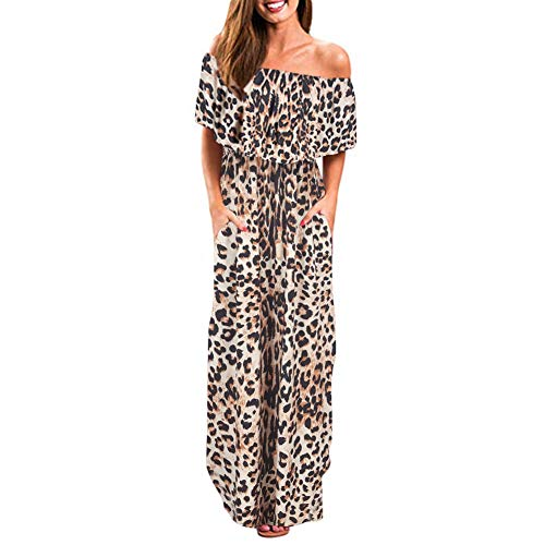 (Gersymi Women's Summer Casual Off The Shoulder Dresses Leopard Long Maxi Dress(S,Leopard))