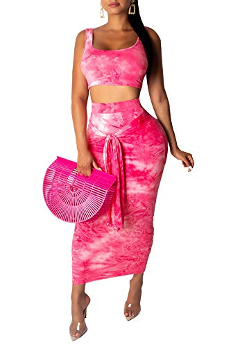 Remelon Womens Sexy Sleeveless Tie Dye Print Tank Crop Top Bodycon Tie Skirts Set 2 Piece Midi Dress Outfits Pink 1 - Dress 2 Piece Womens