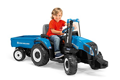 New Holland T8 Tractor and Trailer, Blue from Peg Perego