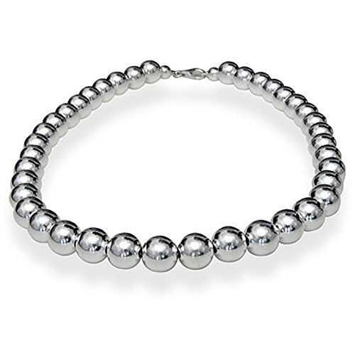 10mm Sterling Silver Bead Necklace