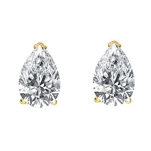 14K Gold Plated 1 Carat CZ Pear-Shaped Cubic Zirconia Stud Solitaire Earrings Summer Sale (1 Ct Pear Solitaire)