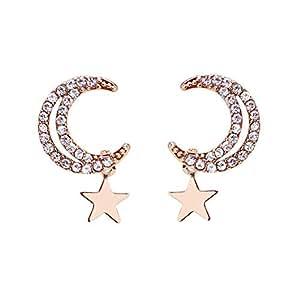 Qings Women Fashion Earrings Lady Moon Stars Cubic Zirconia Earring Rose Gold Earrings