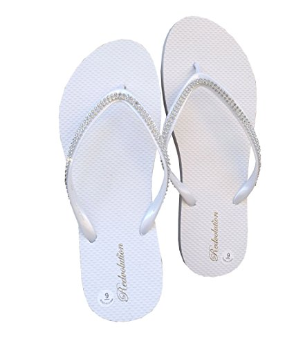 ne Sandals Diamond Head Flip Flop Beach, Gym, Pool-313L (8, White) (White Flip Flops Rhinestones)