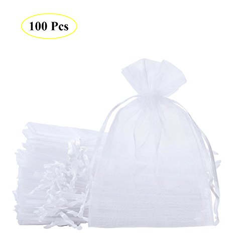 SumDirect 100PCS 6x9 inches Organza Gift Bags with Drawstring(White) by SumDirect