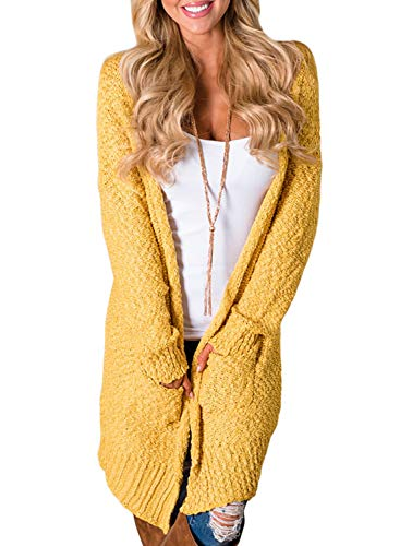 (HOTAPEI Women Plus Size Cardigans Stretch Long Sleeves Solid Open Front Pockets Outwear Coat Velvet Loose Long Knit Oversized Cardigans for Women Sweater Yellow XXL)