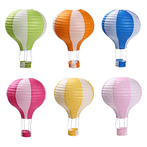 Hot Air Balloon Paper Lanterns for Wedding Birthday Engagement Christmas Party Decoration Stripe Set Pack of 6]()