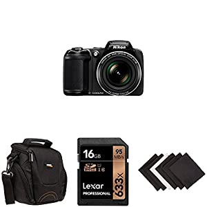Nikon Coolpix L340 20.2 MP Digital Camera with 28x Optical Zoom and 3.0-Inch LCD (Black) AmazonBasics Starter Bundle