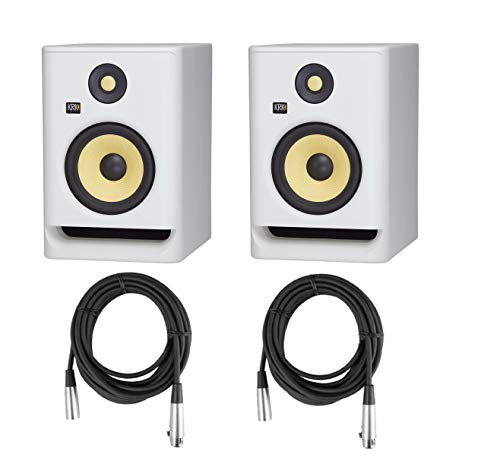 "KRK 2 Pack ROKIT 7 G4 7"" Powered White Noise Near-Field Studio Monitor, 42Hz-40kHz Frequency Response - With 2 Pack 20' 6mm Rubber XLR Microphone Cable"