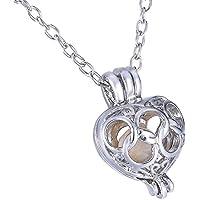 HooAMI Love Wish Pearl Necklace Love Heart Pendant Necklace 18.5 Chain