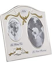 Lawrence Frames Satin Silver and Brass Plated 2 Opening Picture Frame, 50th Anniversary Design